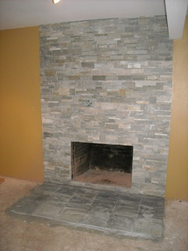 resurface brick fireplace with stone veneer - How To Stone Veneer Fireplace