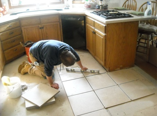 Charming Tile Kitchen Floor Installation